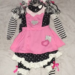 3-4T Raggedy Ann Black Pink Spirit Halloween Costm